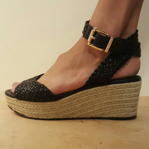 release date: get new 100% quality quarantee Woven Black Strap Low Heel Wedges