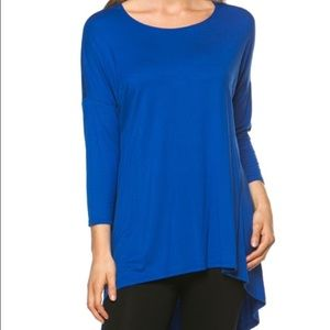 Tops - Royal blue piko style top