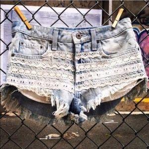 LF Pants - LF Carmar Lace Detail Denim Shorts