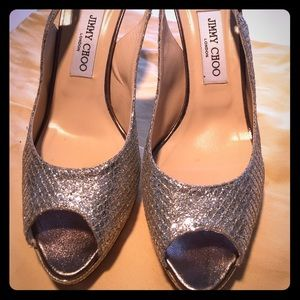 Jimmy Choo Champagne Glitter Platform Sandals