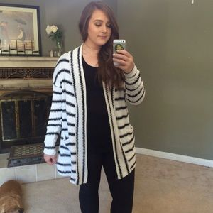 Better Be Sweaters - Black and White Striped Long Open Knit Cardigan