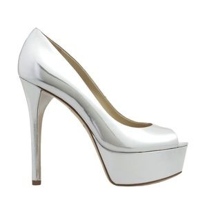 Brian Atwood Shoes - Brian Atwood Bambolo Silver Metallic Heels