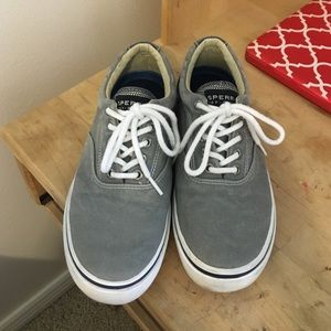 Grey Sperry Vans Style Tennis Shoes