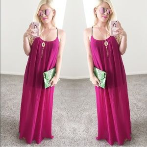 Dresses & Skirts - Sexy maxi dress pink fuchsia sheer