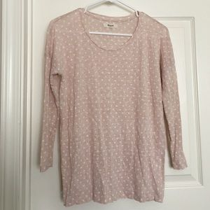 Madewell pink and white polka dotted linen shirt
