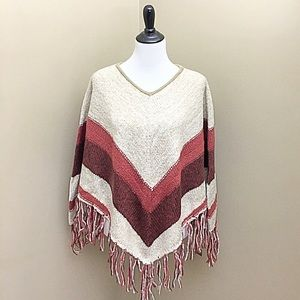 Sun and Shadow Sweaters - Hippie Chic Burnt Rust Striped Fringe Poncho- New