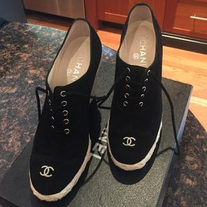 b3a7a37b6dc5 CHANEL Shoes - Authentic Chanel Suede Wedge Lace Up Espadrilles