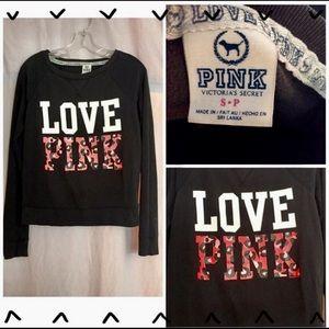 ⚡️FLASH SALE!⚡️PINK VS LOVE PINK BLACK CREW NECK
