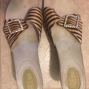 Shoes - Calf hair striped slides with jeweled buckle