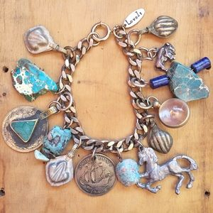 Jewelry - Turquoise and Ocean Jasper Vintage Charm Bracelet