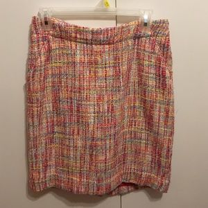 Colorful tweed pencil skirt