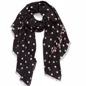 kate spade Accessories - Kate Spade Deco Dot Scarf With Pink Letting
