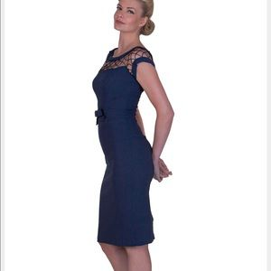 ❤️NEW! MODCLOTH Pin-up navy wiggle dress Sz M