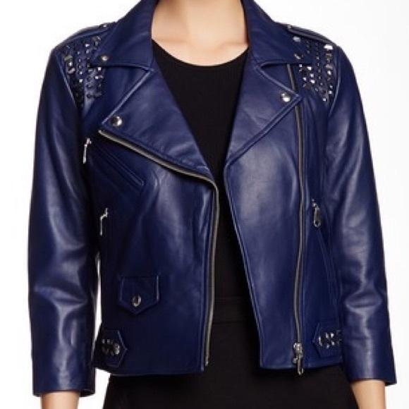 Rebecca Minkoff Jackets Coats Wes Leather Jacket Navy Blue