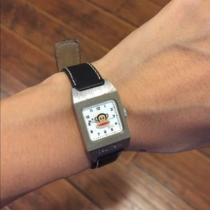 Paul frank watch black leather band