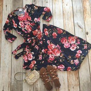 Dresses & Skirts - Navy floral tie waist print wrap maxi dress