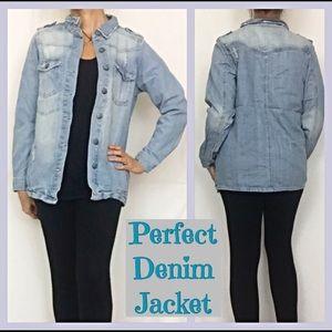 Jackets & Blazers - Light Wash distressed denim jean jacket ML
