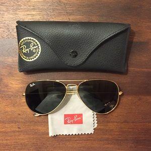 Gold Rayban Aviator Sunglasses