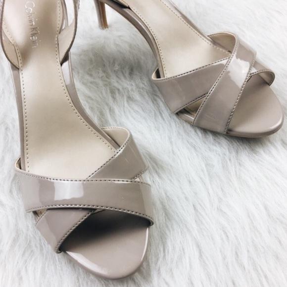Calvin Klein Shoes - Calvin Klein tan gray patent leather peep toe heel