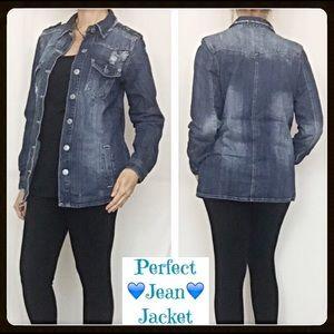 Jackets & Blazers - Med-Dark Distressed Jean Denim Jacket SM
