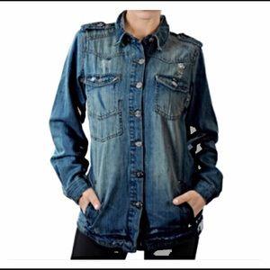 Jackets & Blazers - Medium Distressed Jean Denim Jacket Small