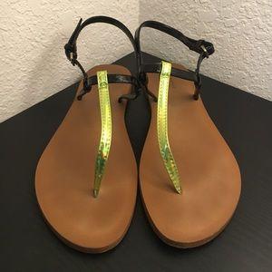 Zara Patent T-Strap Sandals