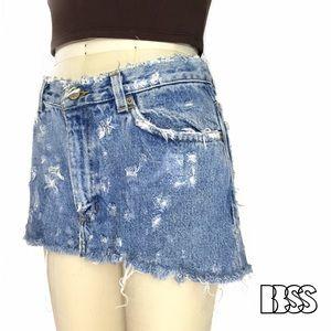 Vintage Dresses & Skirts - AMAZING VINTAGE REWORKED DISTRESSED DENIM SKIRT!!