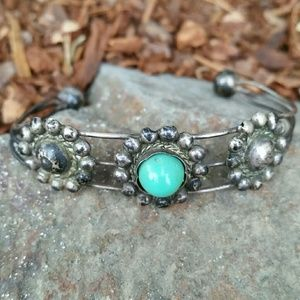 Antique Sterling Silver Turquoise Bead bracelet