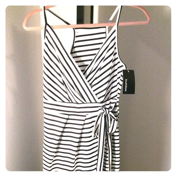 Black and white striped mock wrap dress 7d15e7e77