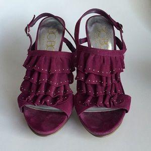 Purple Slingback Heels with Ruffle Detail