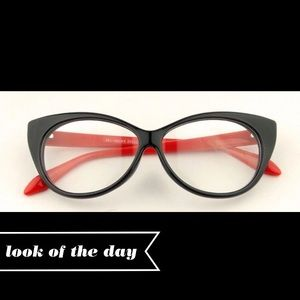 Sexy Red & Black Cat Eye Glasses w/ Clear Lenses