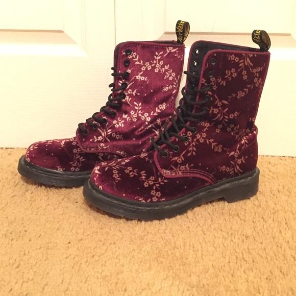 64e8b4ea864ad Dr. Martens Shoes | Dr Martens Avery Velvet Floral Boots | Poshmark