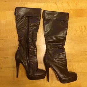 Brown knee high boots 6.5 zipper heels fau leather