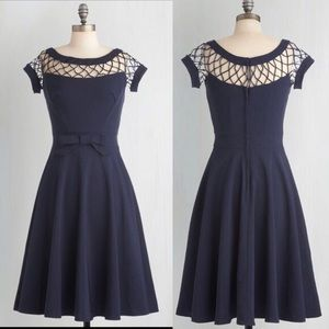 Alika Navy Vintage Dress Bettie Paige XL NWT