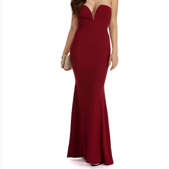 Red Evening Dresses Straples Wired