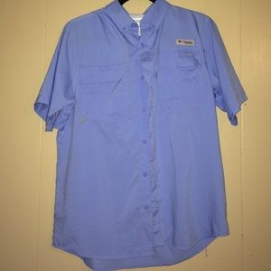 33 off lexi york tops lexi york blue fish cool cotton for Columbia cotton fishing shirt