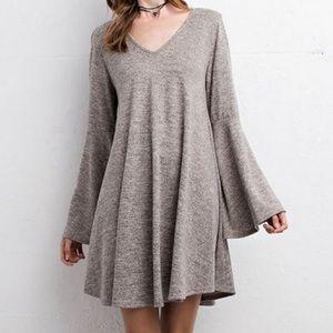 Southern Girl Fashion Dresses & Skirts - SWING DRESS Bell Sleeve Mini Draped Sweater Tunic