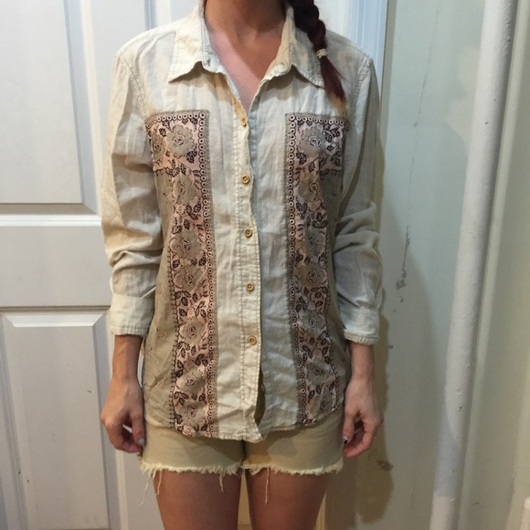 Free People - FREE PEOPLE Cream Floral Panel Button Down Shirt ...