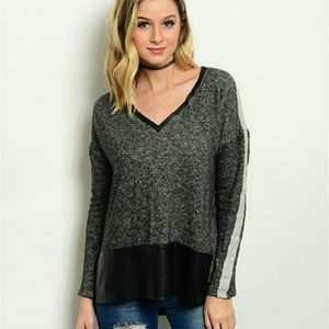angelochekk boutique  Sweaters - NWT MARLED CHARCOAL TOP
