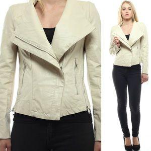 ‼️SALE‼️Washed Crepe Faux Leather Jacket