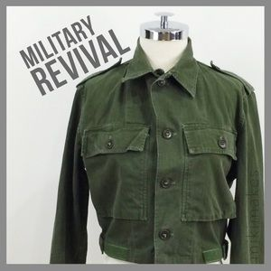 Vintage converted military jacket cropped