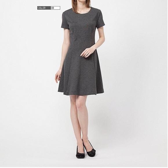 c50a281571 NWOT Uniqlo gray ponte flare dress. M 57f52f53ea3f365deb006dd2