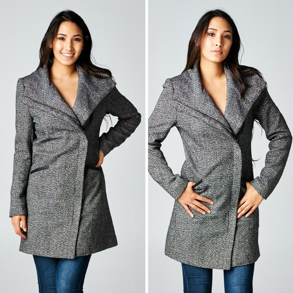 Classic Paper Doll Jackets & Blazers - ‼️SALE‼️Long Sleeve Two Pocket Asymmetrical Coat