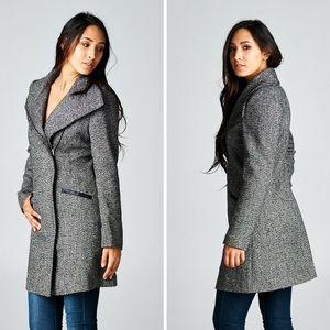 Classic Paper Doll Jackets & Coats - ‼️SALE‼️Long Sleeve Two Pocket Asymmetrical Coat