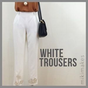 Trouve Pants - TROUVE • white crepe jogger trousers