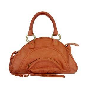Bulga- Orange Crescent Shaped Leather Bag
