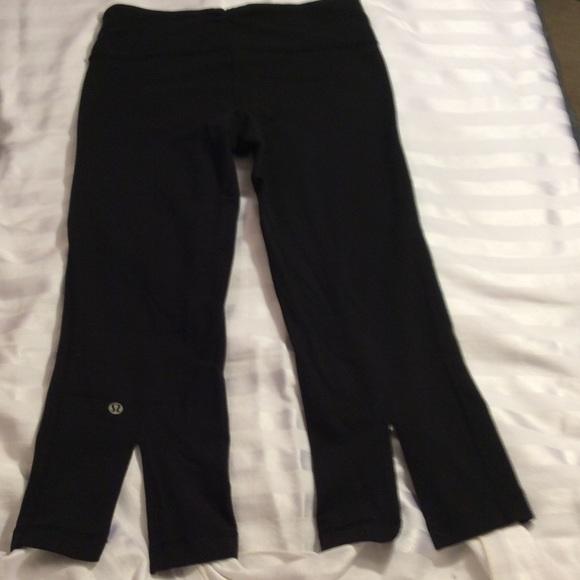 a256d6cac4ffb lululemon athletica Pants - Lululemon black Capri crop yoga pants Back Slits  4