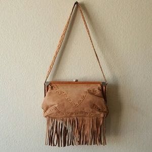 Carla Mancini Camel Fringe Leather Shoulder bag
