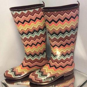 Missoni for target zig zag rain boots