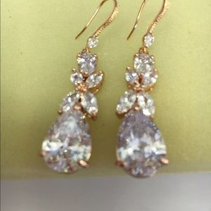 Crystal Bridal Earrings, Leaf Dangle Drop